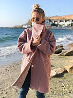 Тёплое пальто женское демисезонное букле барашек свободного кроя 5 цветов. Фреза