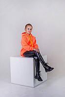 Яркое худи для девочки утепленное р.128,134,140,146,152,158 SmileTime Juicy, оранжевый неон, фото 1