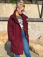 Тёплое пальто женское демисезонное букле барашек свободного кроя 5 цветов. Бордо