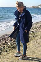 Тёплое пальто женское демисезонное букле барашек свободного кроя 5 цветов. Тёмно-синий