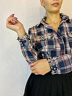 Женская рубашка удлиненная в клетку, фото 1