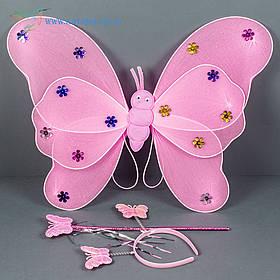 Набір карнавальний крила феї рожеві
