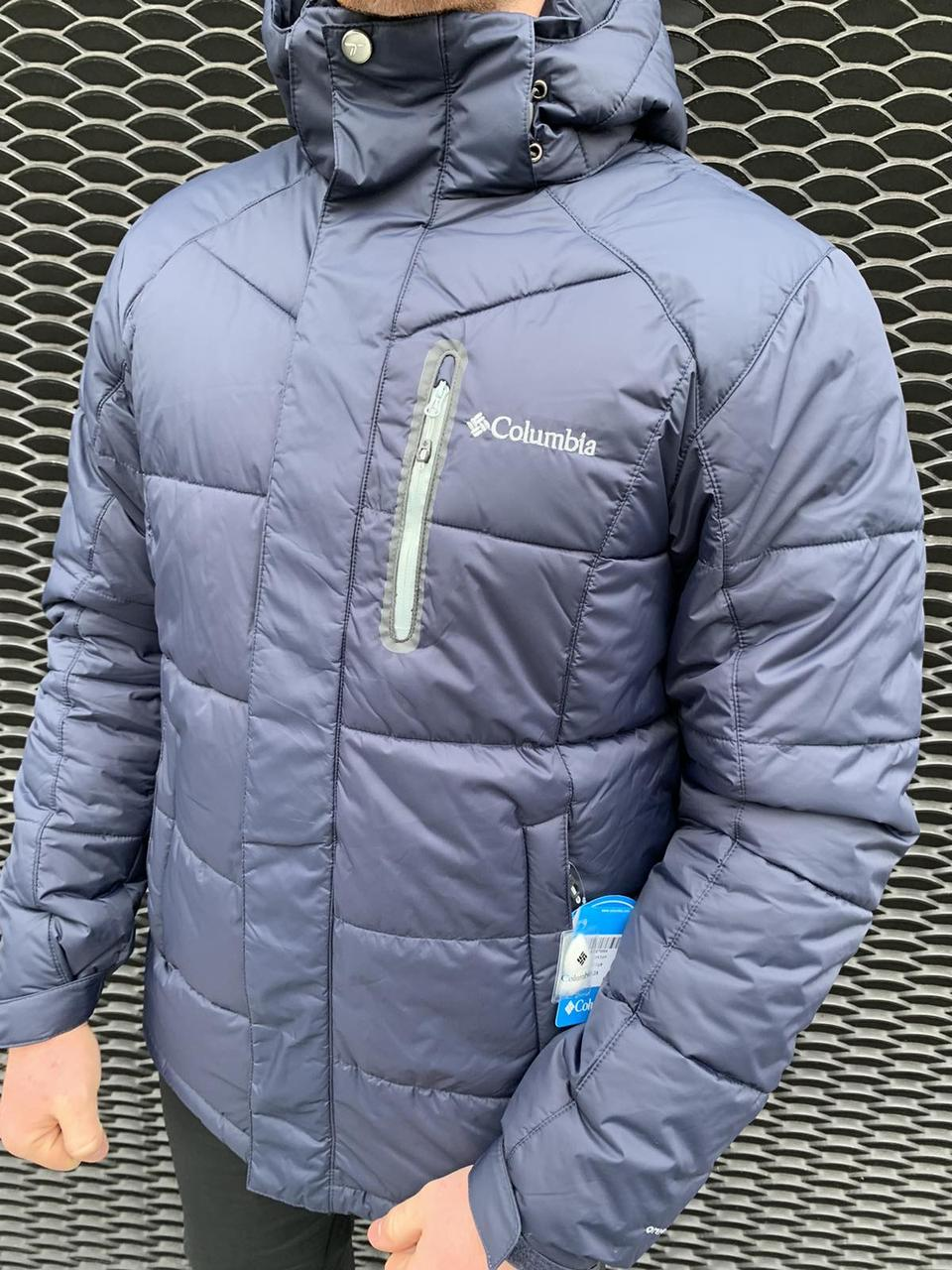 Мужская зимняя куртка Columbia Titanium темно синяя