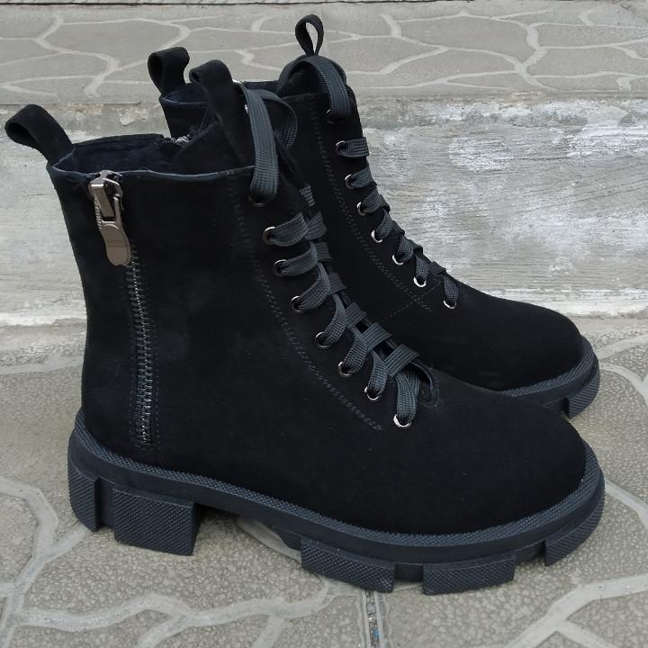 Ботинки женские на шнурках замшевые черные