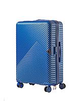 Чемодан пластиковый Wings WN01 большой (L, 88 л) на 4 сдвоенных колесах Синий (Middle blue)