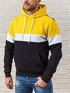 Теплая мужская худи с капюшоном WB с белой вставкой размер S желто-черная