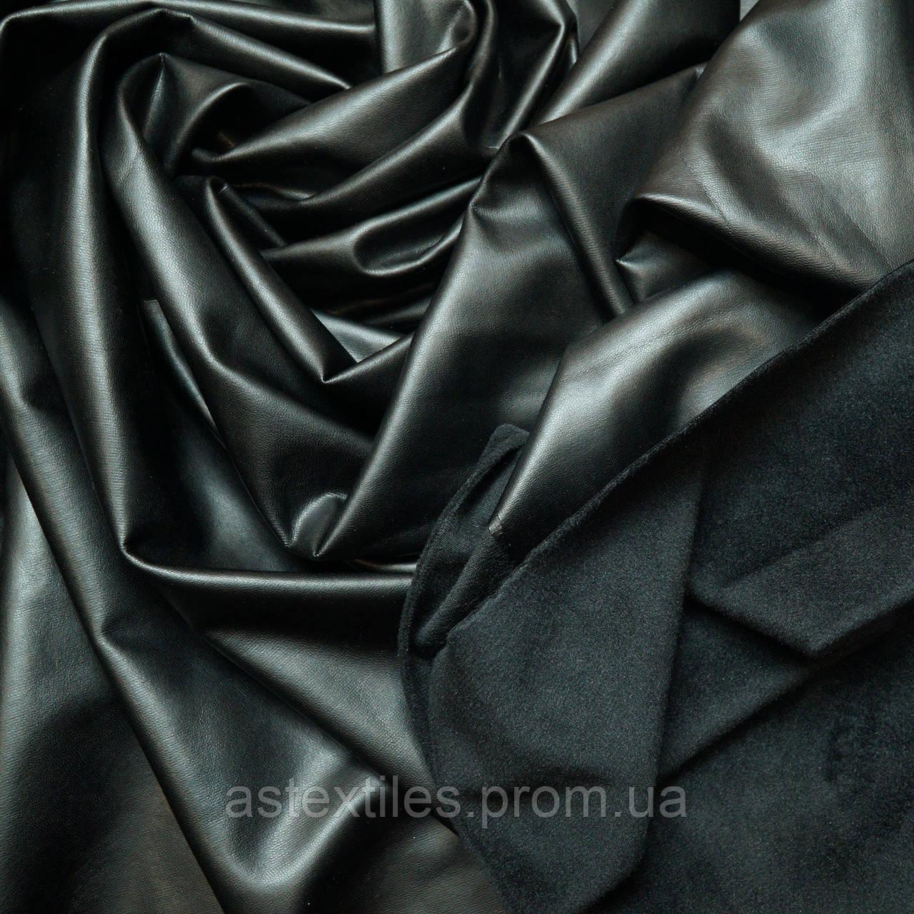 Кожзам на флисе (чёрный)