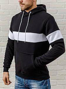 Теплая мужская худи с капюшоном WB с белой вставкой размер S черная