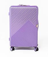 Чемодан пластиковый Wings WN01 большой (L, 88 л) на 4 сдвоенных колесах Фиолетовый (Silver purple)