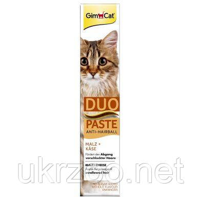 Лакомство для кошек GimCat Anti-Hairball Duo Paste Cheese + Malt 50 г (для выведения шерсти)