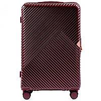 Чемодан пластиковый Wings WN01 большой (L, 88 л) на 4 сдвоенных колесах Бордовый (Wine red)