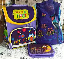 Набор для девочки Совушки рюкзак школьный 988096 пенал-книжка и сумка для обуви K18-600S-6