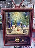 Новорічний нічник, з ефектом падаючий сніг, декоративна лампа ліхтаря, телевізор зі снігом, фото 4