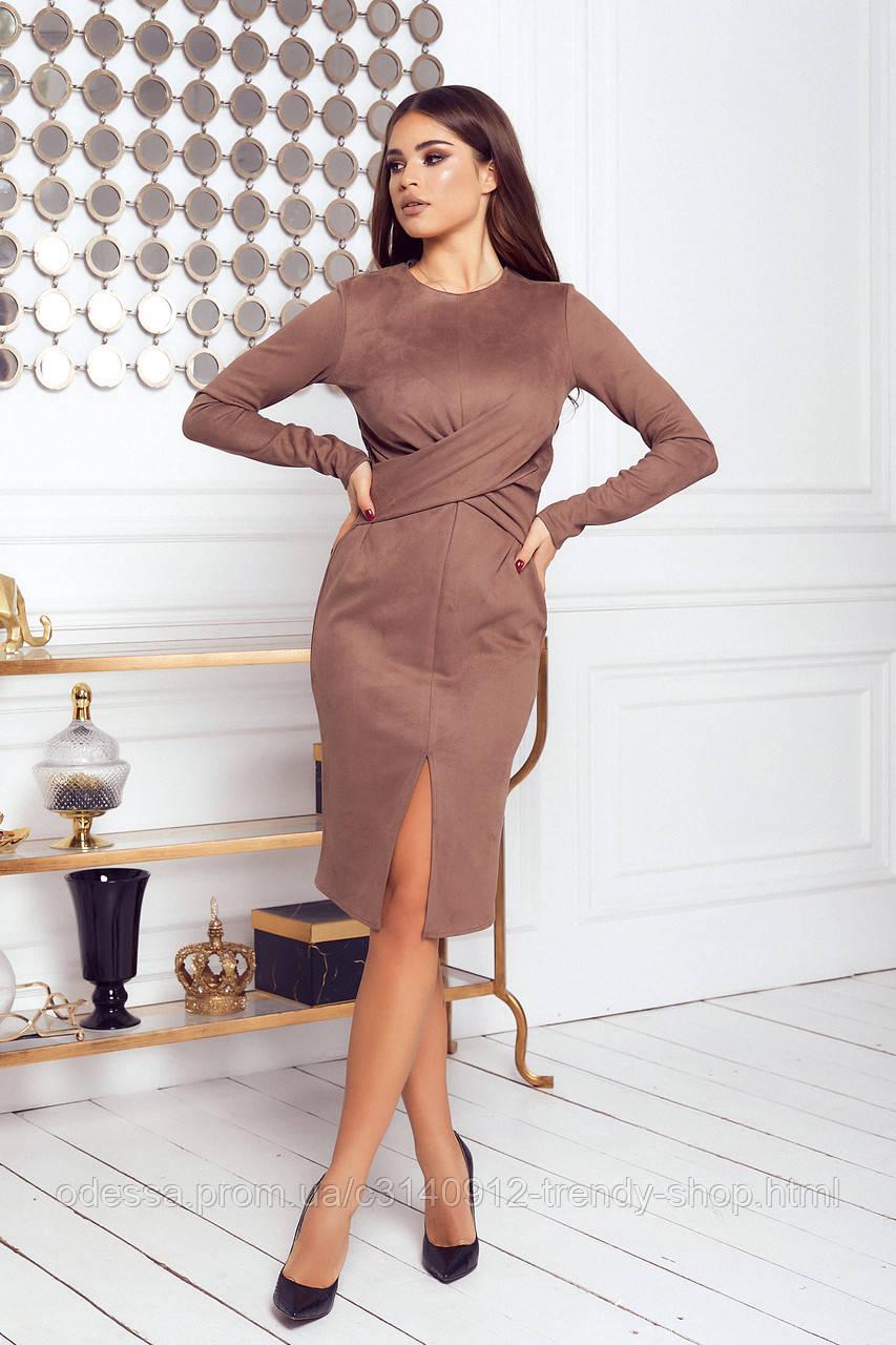Платье женское нарядное замшевое мокко, бежевый, молоко, черный, бутылка, красный 42-44, 46-48