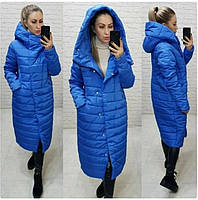 Тёплая женская зимняя куртка длинная с глубоким капюшоном на молнии и кнопках большие размеры, 5 цветов. Голубой
