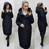 Тёплая женская зимняя куртка длинная с глубоким капюшоном на молнии и кнопках большие размеры, 5 цветов. Чёрный