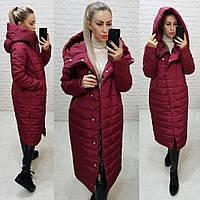 Тёплая женская зимняя куртка длинная с глубоким капюшоном на молнии и кнопках большие размеры, 5 цветов. Бордовый