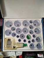 Вакуумные антицеллюлитные массажные банки без магнитов, с насосом 24 шт., фото 1