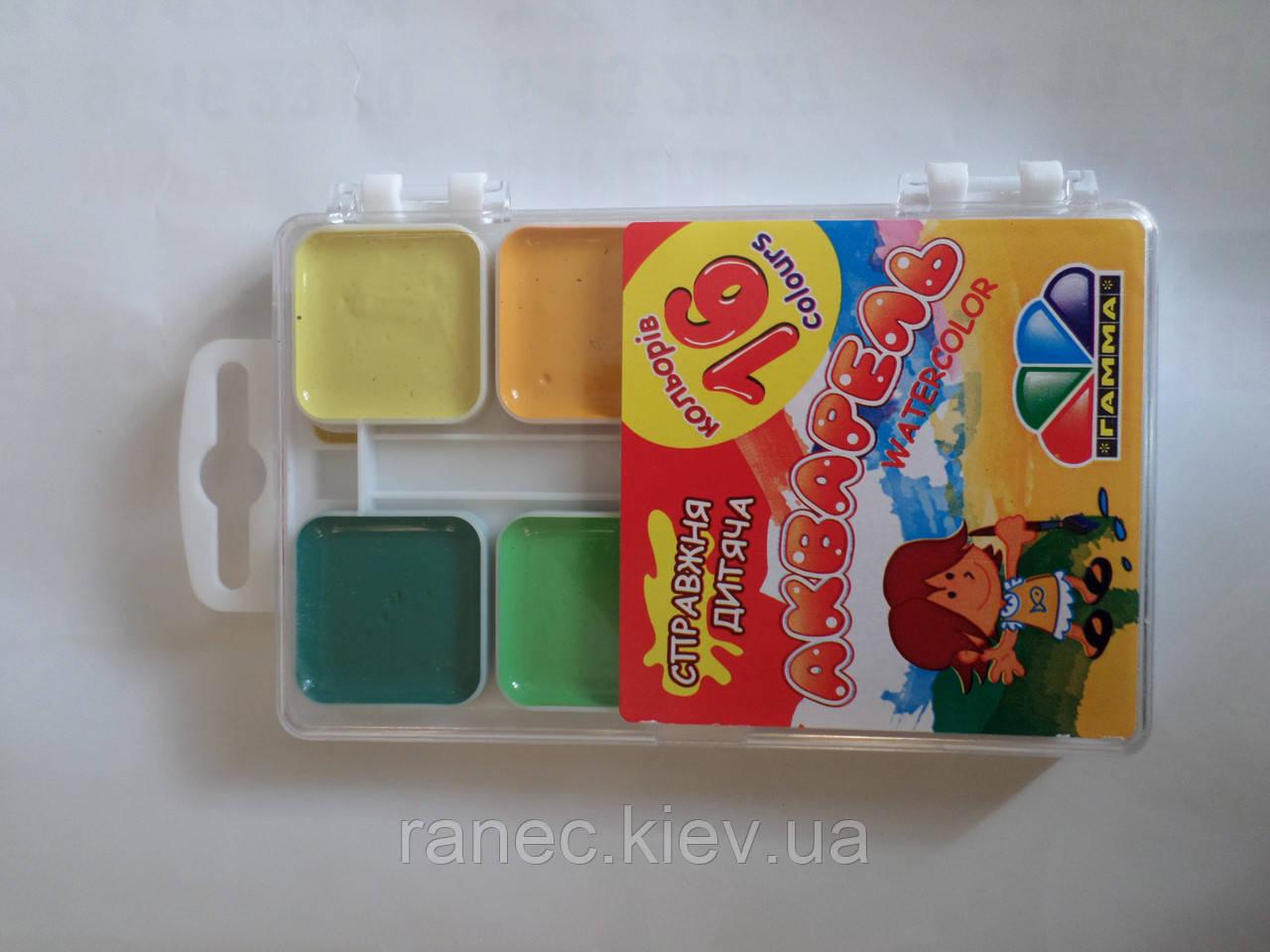 Акварель Гамма 16 цветов медовая полусухая 312062 Гамма