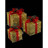 Новогодняя LED гирлянда Подарки 45 см, золотой с красным