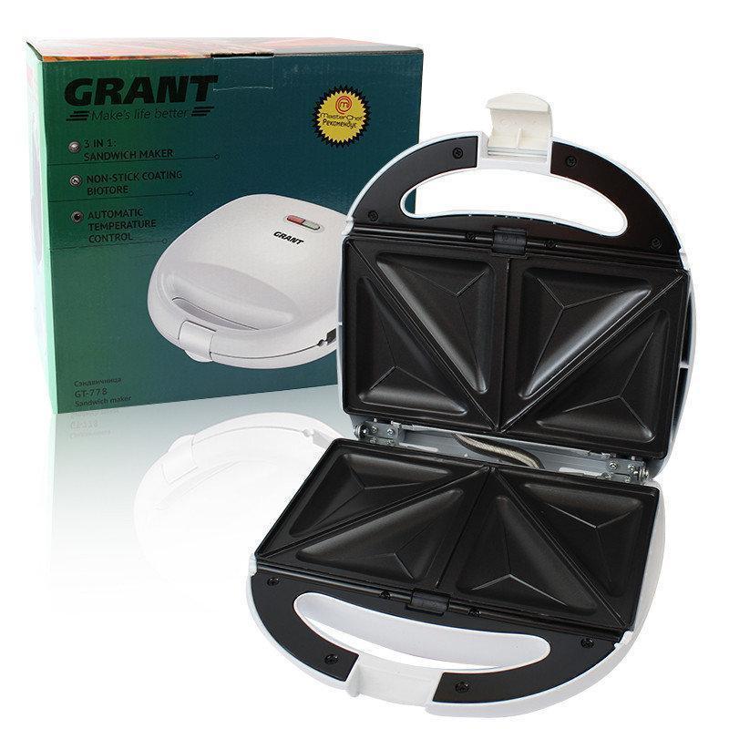 Сэндвичница 3 в 1 Grant GT 778 800W антипригарное покрытие | бутербродница | вафельница | гриль