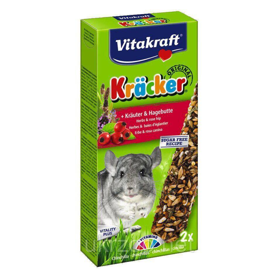 Лакомство для шиншилл Vitakraft «Kracker Original + Herbs & Rose Hip» 112 г / 2 шт. (трава) 25349