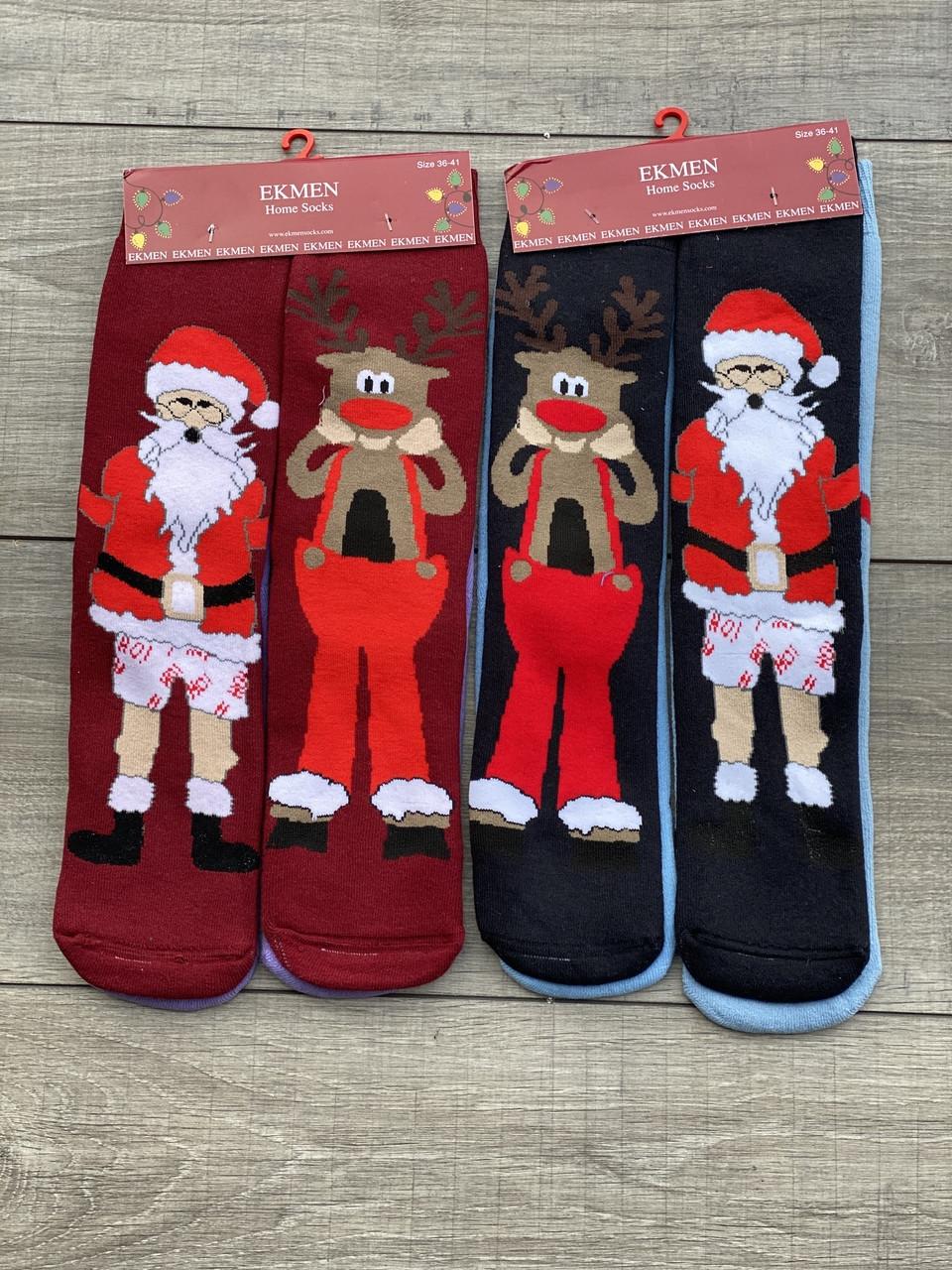 Новорічні чоловічі підліткові махрові шкарпетки Ekmen мікс кольорів розмір 36-41