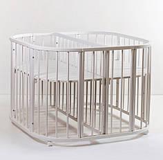 Детская кроватка для двойни Twins 110х110 см Белый