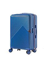 Чемодан пластиковый Wings WN01 средний (M, 60 л) на 4 сдвоенных колесах Синий (Middle blue)