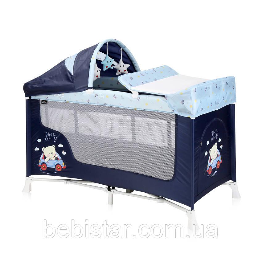 Детский манеж-кровать синий Lorelli San Remo 2 с укачиванием двойное дно пеленатор сумка дуга с игрушками
