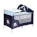 Детский манеж-кровать синий Lorelli San Remo 2 с укачиванием двойное дно пеленатор сумка дуга с игрушками, фото 4