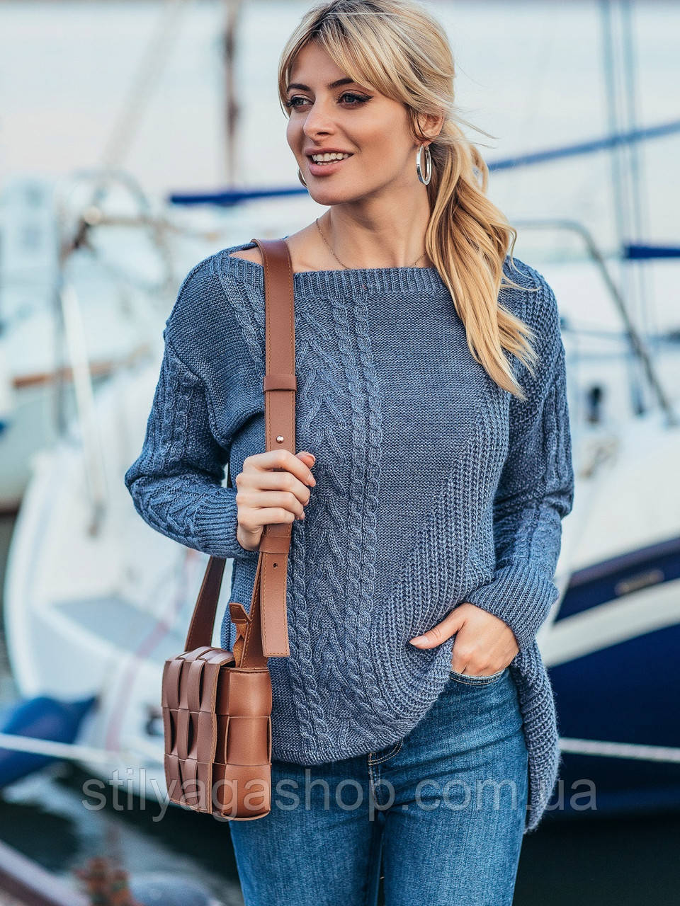 ХS-М  Ажурный свитер с асимметричным низом
