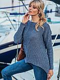 ХS-М  Ажурный свитер с асимметричным низом, фото 2