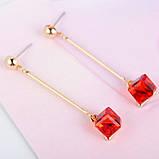 Женские серьги капли Красный квадрат, фото 2