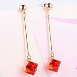 Жіночі сережки краплі Червоний квадрат, фото 3