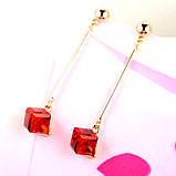 Женские серьги капли Красный квадрат, фото 4