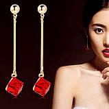 Женские серьги капли Красный квадрат, фото 5