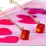 Жіночі сережки краплі Червоний квадрат, фото 6