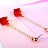 Жіночі сережки краплі Червоний квадрат, фото 7