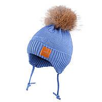 Зимняя шапка для мальчика с помпоном из натурального меха енота TuTu 41 арт. 3-005170(42-46, 46-50, 50-54), фото 1