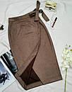 Замшевая коричневая юбка на запах, фото 2