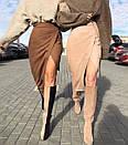 Замшевая коричневая юбка на запах, фото 3