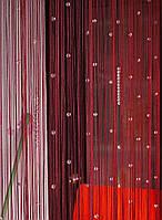 Шторы нити ЛЮКС ГУСТЫЕ с алмазными бусинами  бордовые, фото 1