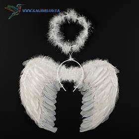 Крила ангела білі пір'яні і німб 35*45 білі