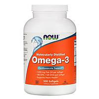 Now Foods, оmega-3 (500 капсул), омега-3, рыбий жир