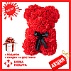 Красивый мишка из латексных 3D роз 40 см с лентой в подарочной коробке | Белый, фото 3