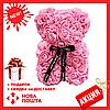 Красивый мишка из латексных 3D роз 40 см с лентой в подарочной коробке | Белый, фото 4