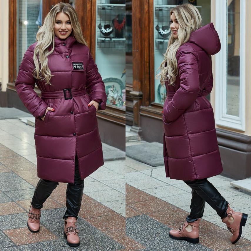Женское пальто с ремнем. Застежка молния+кнопки+декоративная липучка. Размеры: 48-50,52-54,56-58.