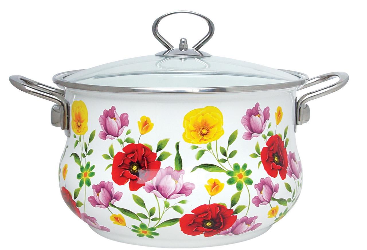 Эмалированная кастрюля с крышкой Benson BN-120 белая с цветочным декором (5.9 л)   кухонная посуда   кастрюли