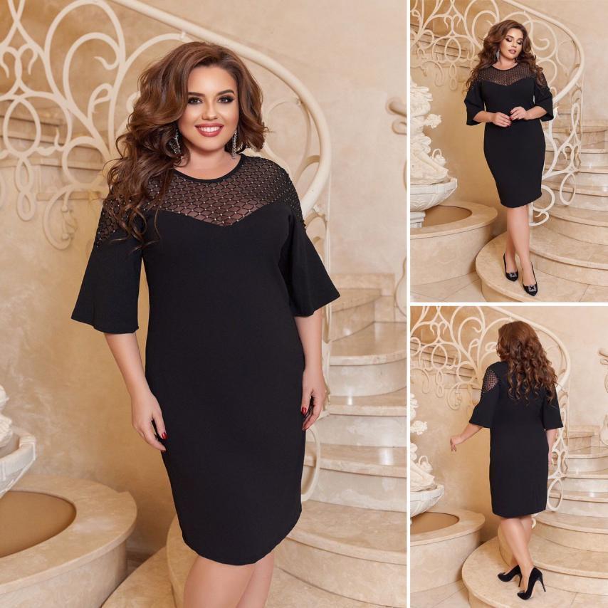 Женское платье  большого размера нарядное, вечернее. Ткань: креп дайвинг, флок глитер на сетке.